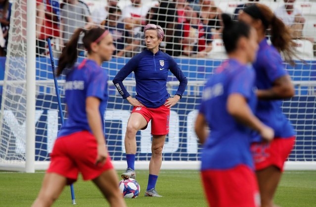 Megan Rapinoe (Reign FC) of United States during the warm-up before the 2019 FIFA Women's World Cup France Semi Final match between England and USA at Stade de Lyon on July 2, 2019 in Lyon, France. (Photo by Benoit Tessier/Reuters)