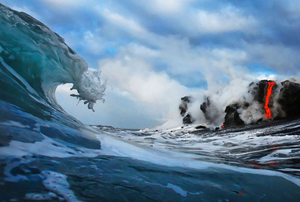 Lava Crashing Into the Seas off Hawaii
