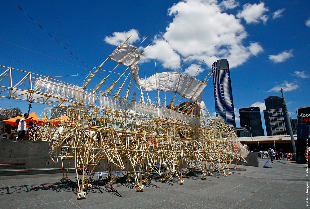 Strandbeest Structure Unveiled In Federation Square
