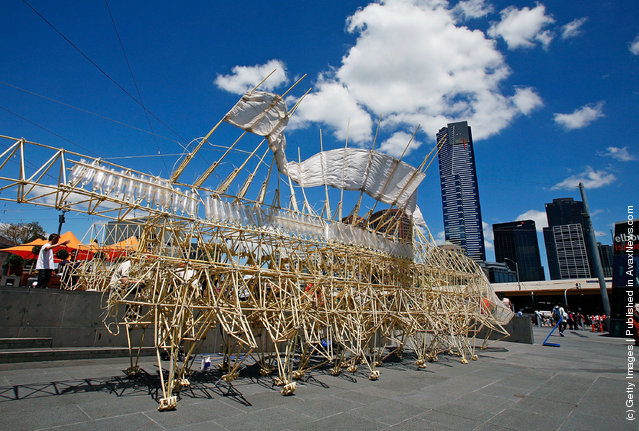 "The ""Strandbeest"" sculpture created by Dutch artist Theo Jansen ""walks"" at Federation Square"