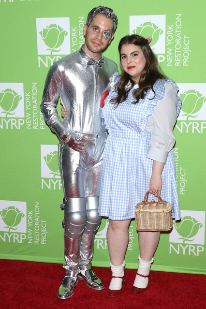 Actors Ben Platt and Beanie Feldstein attend Bette Midler's 2019 Hulaween at New York Hilton Midtown on October 31, 2019 in New York City. (Photo by Jim Spellman/WireImage)