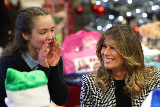 First lady Melania Trump joins local school students creating holiday decorations at the Salvation Army Clapton Center in London, Wednesday, December 4, 2019. (Photo by Yui Mok/PA Wire Press Association)