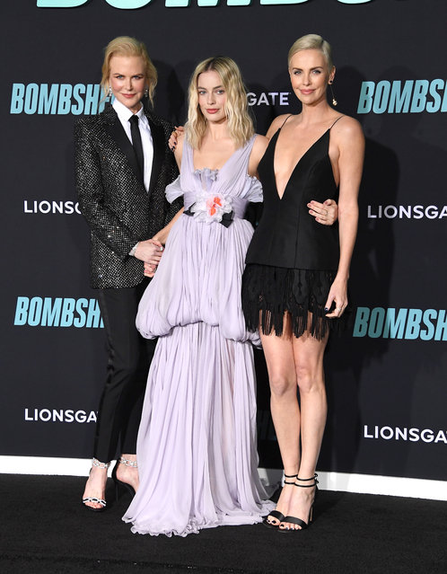 "Nicole Kidman, Margot Robbie and Charlize Theron arrives at the Special Screening Of Liongate's ""Bombshell"" at Regency Village Theatre on December 10, 2019 in Westwood, California. (Photo by Steve Granitz/WireImage)"