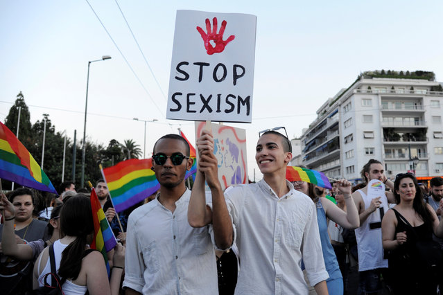 Participants take part in a gay pride parade in Athens, June 11, 2016. (Photo by Michalis Karagiannis/Reuters)