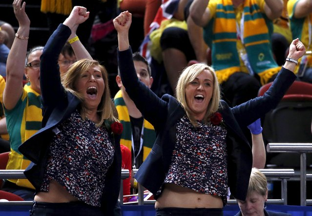 England netball coach Tracey Neville (R) celebrates with team staff after England won the bronze medal match against Jamaica at the Netball World Cup in Sydney, Australia, August 16, 2015. Neville remained with the team in Australia for the World Cup despite the death of her father, who passed away at a Sydney hospital after arriving to support the team, England Netball said last week. (Photo by David Gray/Reuters)