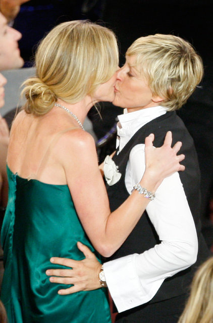 Actress Portia de Rossi (L) kisses TV Host Ellen DeGeneres, after finding out that Ellen DeGeneres won the Outstanding Talk Show/Entertainment award during the 35th Annual Daytime Emmy Awards held at the Kodak Theatre on June 20, 2008 in Hollywood, California. (Photo by Vince Bucci)