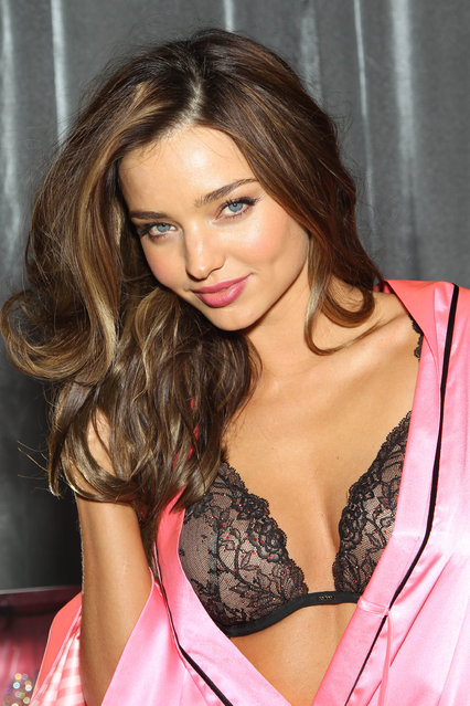 Miranda Kerr backstage at The Victoria's Secret Fashion Show in New York. (Photo by Charles Sykes/Evan Agostini)