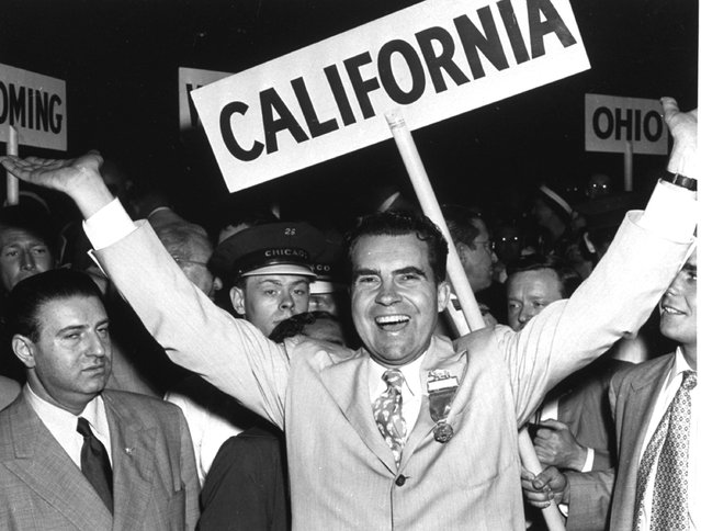 Senator Richard Nixon arrives at the Republican National Convention in Convention Hall, Chicago, Ill., July 11, 1952, to be selected as the GOP Vice Presidential candidate. (Photo by AP Photo)