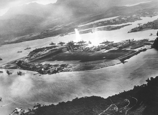 Ford Island is seen in this aeriel view during the Japanese attack on Pearl harbor December 7, 1941 in Hawaii. The photo was taken from a Japanese plane. December 7, 2001 marks the 60th anniversary of the Japanese attack on Pearl Harbor. (Photo by Getty Images)