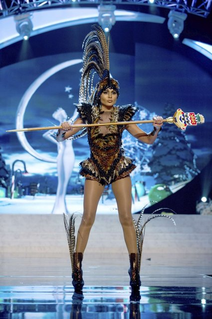 Miss Cayman Islands Linsday Japal performs onstage at the 2012 Miss Universe National Costume Show on Friday, December 14, 2012 at PH Live in Las Vegas, Nevada. The 89 Miss Universe Contestants will compete for the Diamond Nexus Crown on December 19, 2012. (Photo by AP Photo/Miss Universe Organization L.P., LLLP)