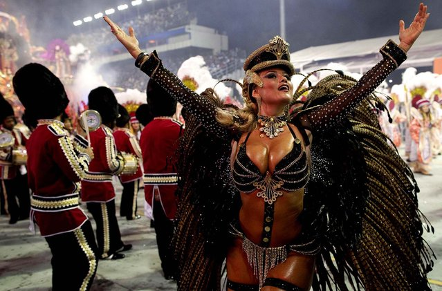 A dancer from the Rosas de Ouro samba school performs in Sao Paulo. (Photo by Andre Penner/Associated Press)