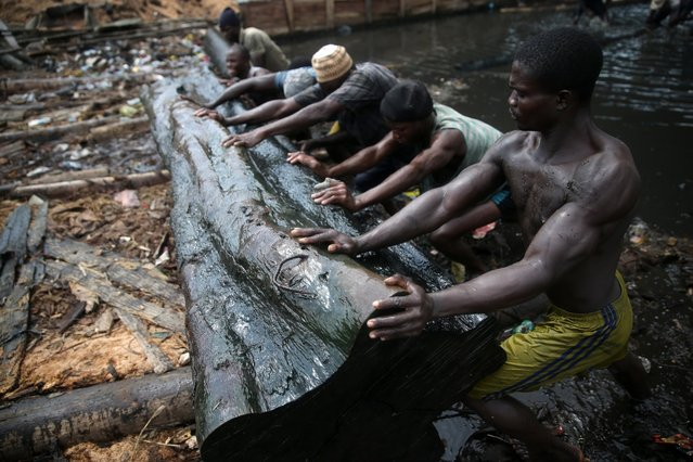 Men push a log out of the water near Okobaba sawmill at the edge of the Lagos Lagoon June 24, 2014. (Photo by Akintunde Akinleye/Reuters)