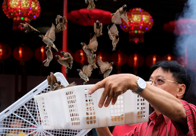 A man releases birds, which is believed to bring good luck, during celebrations of the Chinese Lunar New Year of the Dog at a temple in Chinatown in Jakarta, Indonesia, February 16, 2018. (Photo by Reuters/Beawiharta)