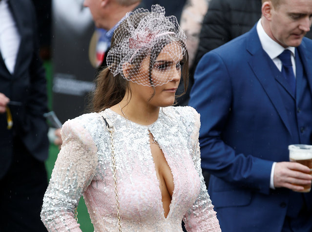 A racegoer during Ladies Day at the Grand National Festival at Aintree Racecourse on April 13, 2018 in Liverpool, England. (Photo by Andrew Yates/Reuters)