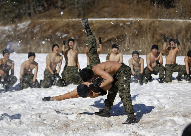 Shirtless members of the South Korean Special Warfare Forces take part in a winter exercise in Pyeongchang January 8, 2015. (Photo by Kim Hong-Ji/Reuters)
