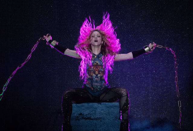 Shakira performs live at The O2 Arena on June 11, 2018 in London, England. (Photo by Samir Hussein/Redferns)