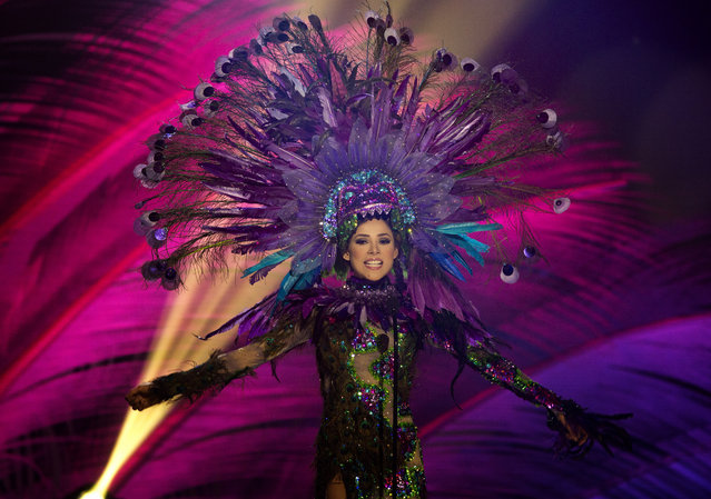 Miss Mexico, Josselyn A. Garciglia, poses for the judges, during the national costume show during the 63rd annual Miss Universe Competition in Miami, Fla., Wednesday, January 21, 2015. (Photo by J. Pat Carter/AP Photo)