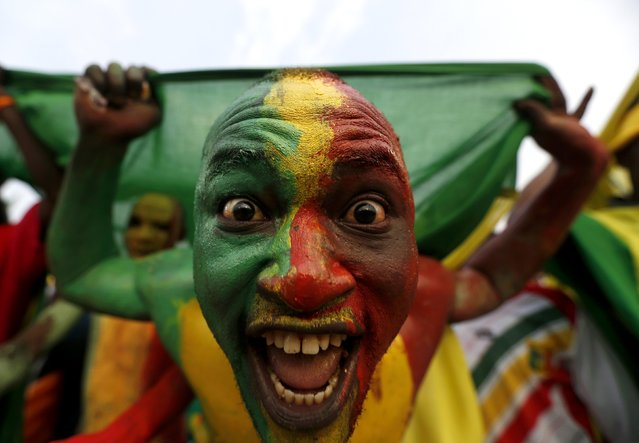 A Mali supporter painted in the colours of the country's national flag cheers as the team arrives to warm up before their 2015 African Cup of Nations Group D soccer match against Guinea in Mongomo January 28, 2015. (Photo by Mike Hutchings/Reuters)