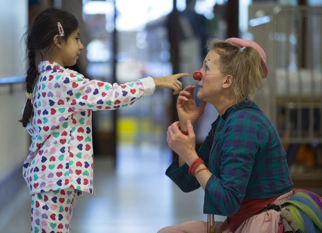 Zeinab (L) from Lebanon touches the red nose of Belgian clown Lili Bellule at the pediatric department of the Hopital Erasme at the Universite Libre de Bruxelles (ULB), in Brussels, January 27, 2015. (Photo by Yves Herman/Reuters)