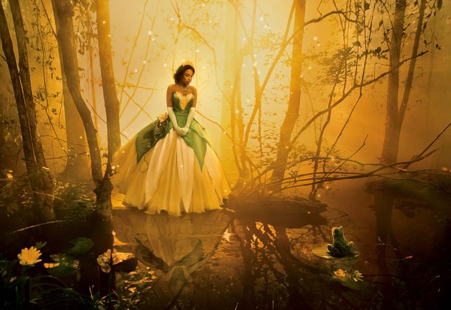 """This undated photo illustration released by Disney Parks shows actress-singer Jennifer Hudson, dressed as the character Tiana from the animated film """"The Princess and the Frog"""", as part of the Disney Dream Portrait series. The portrait series by Annie Leibovitz for Walt Disney Parks & Resorts features celebrities set in Disney fantasy settings. The image, appearing in upcoming issues of """"Vanity Fair"""", """"O – The Oprah Magazine"""", and """"People"""" is entitled, """"Where you always follow your heart"""". (Photo by Annie Leibovitz for Disney Parks)"""