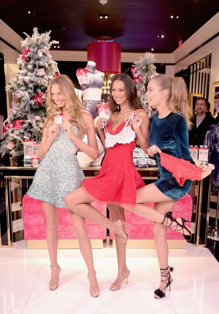 Victoria's Secret Angels Josephine Skriver, Lais Ribeiro, and Romee Strijd celebrate the Victoria's Secret Fashion Show at the new 5th avenue store on December 2, 2016 in New York City. (Photo by Jason Kempin/Getty Images for Victoria's Secret)
