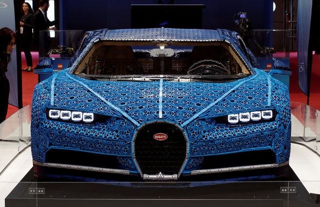 The Bugatti Chiron made out of LEGO Technic blocks is on display at the Auto show in Paris, France, Tuesday, October 2, 2018, 2018. (Photo by Benoit Tessier/Reuters)