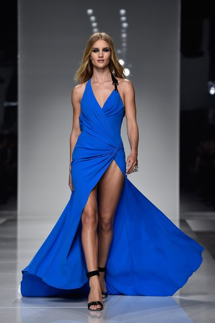 Rosie Huntington-Whiteley walks the runway during the Versace  Spring Summer 2016 show as part of Paris Fashion Week on January 24, 2016 in Paris, France. (Photo by Pascal Le Segretain/Getty Images)