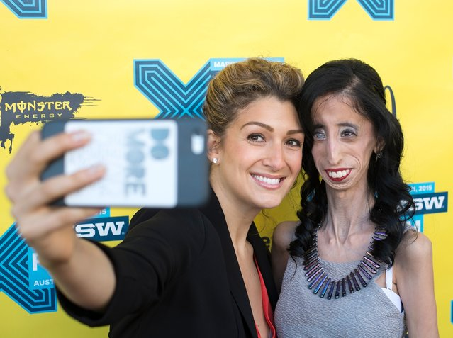 "Activist Alexis Jones (L) and Lizzie Velasquez arrive at the premiere of ""A Brave Heart: The Lizze Velasquez Story"" at Paramount Theatre on March 14, 2015 in Austin, Texas. (Photo by Michael Buckner/Getty Images for SXSW)"