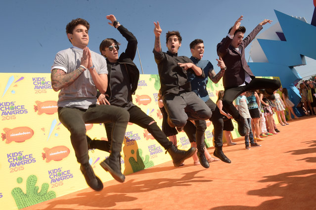 (L-R) Internet personalities and singers Luke Brooks, Beau Brooks, Jai Brooks, Daniel Sahyounie and James Yammouni of The Janoskians attend Nickelodeon's 28th Annual Kids' Choice Awards held at The Forum on March 28, 2015 in Inglewood, California. (Photo by Jason Kempin/Getty Images)