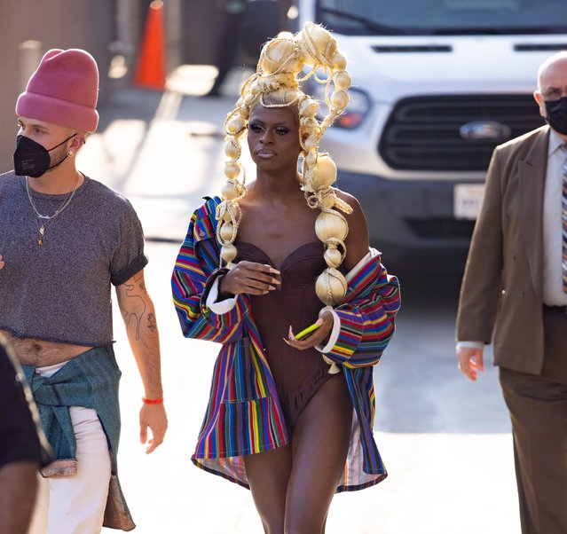 """""""RuPaul's Drag Race"""" winner Symone is seen at """"Jimmy Kimmel Live"""" in Los Angeles, California on August 25, 2021. (Photo by RB/Bauergriffin.com/The Mega Agency)"""