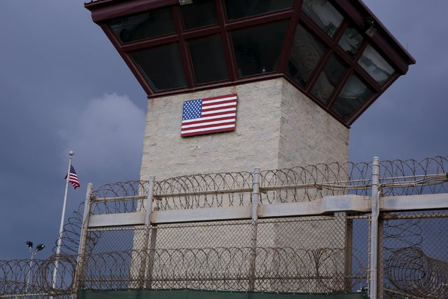 The United States flag decorates the side of a guard tower inside of Joint Task Force Guantanamo Camp VI at the U.S. Naval Base in Guantanamo Bay, Cuba March 22, 2016. (Photo by Lucas Jackson/Reuters)