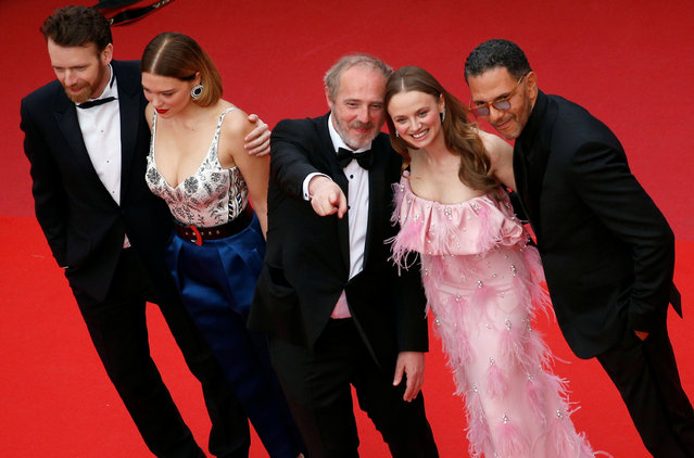 "(From L) French actor Antoine Reinartz, French actress Lea Seydoux, French director Arnaud Desplechin, French actress Sara Forestier and French actor Roschdy Zem pose as they arrive for the screening of the film ""Oh Mercy ! (Roubaix, une Lumiere)"" at the 72nd edition of the Cannes Film Festival in Cannes, southern France, on May 22, 2019. (Photo by Stephane Mahe/Reuters)"