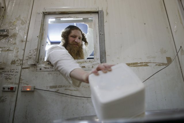 An ultra-Orthodox Jewish man pours flour into a bowl as he prepares matza, traditional unleavened bread eaten during the upcoming Jewish holiday of Passover, in the southern city of Ashdod April 17, 2016. (Photo by Amir Cohen/Reuters)