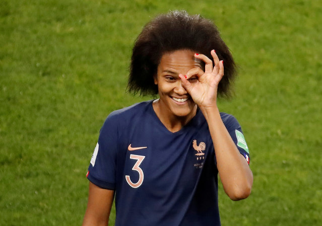 France's defender Wendie Renard celebrates after scoring a penalty kick during the France 2019 Women's World Cup Group A football match between Nigeria and France, on June 17, 2019, at the Roazhon Park stadium in Rennes, western France. (Photo by Christian Hartmann/Reuters)