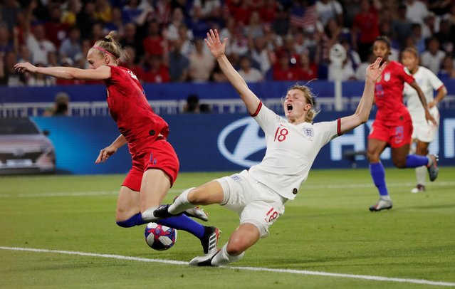 United State's defender Becky Sauerbrunn and England's forward Ellen White during the 2019 FIFA Women's World Cup France Semi Final match between England and United States at Groupama Stadium on July 2, 2019 in Lyon, France. (Photo by Benoit Tessier/Reuters)