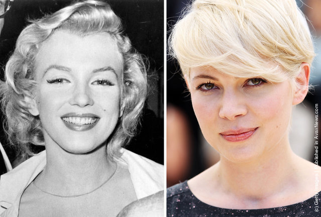 "1956: American film star Marilyn Monroe (Norma Jean Mortenson or Norma Jean Baker, 1926 - 1962) smiles on July 14, 1956; Actress Michelle Williams attends the ""Blue Valentine"" Photocall at the Palais des Festivals during the 63rd Annual Cannes Film Festival on May 18, 2010 in Cannes, France"
