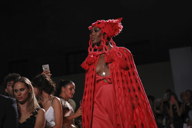 Model Naomi Campbell walks the runway at the Fashion For Relief charity event in central London, Saturday, September 14, 2019. (Photo by Vianney Le Caer/Invision/AP Photo)