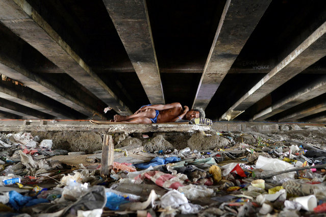 A man sleeps amidst rubbish under a bridge in Paranaque city, Metro Manila, Philippines May 31, 2016. (Photo by Ezra Acayan/Reuters)