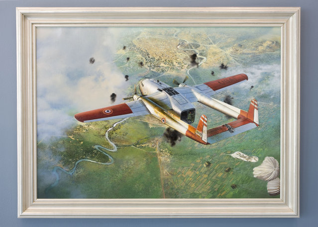 Jeffrey W. Bass, Oil on Canvas, 2006, Donated by the Fairchild Corporation. This painting commemorates air operations of Civil Air Transport (CAT, an Agency proprietary) and its CIA contract pilots in support of French forces at Dien Bien Phu during the final days of the conflict between the French and Viet Minh in 1954. (Photo by Central Intelligence Agency)