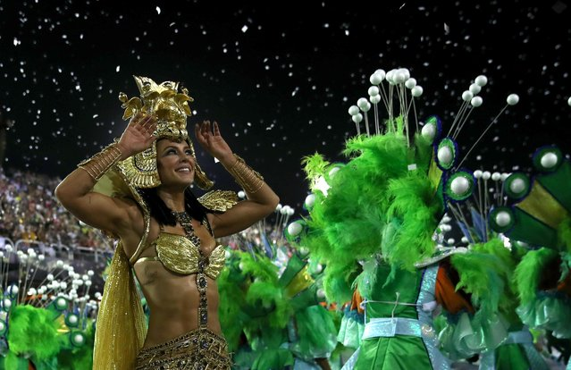 Drum queen Paolla Oliveira of Grande Rio samba school performs during the first night of the Carnival parade at the Sambadrome in Rio de Janeiro, Brazil on February 24, 2020. (Photo by Ricardo Moraes/Reuters)