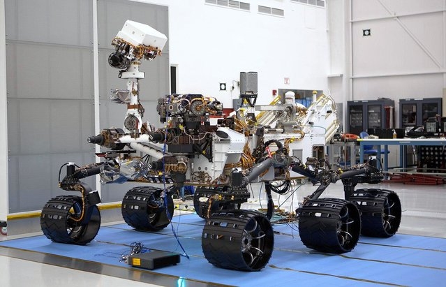 The Mars Science Laboratory rover, Curiosity, on May 26, 2011, in Spacecraft Assembly Facility at NASA's Jet Propulsion Laboratory in Pasadena, California. The rover was shipped to NASA's Kennedy Space Center, Florida, on June 22, 2011. (Photo by NASA/JPL-Caltech)
