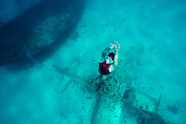 Here environmental activist Julia is on a WW2 bomber plane and in a ship surrounding by seacreatures. (Photo by Julia Wheeler/Caters News Agency)