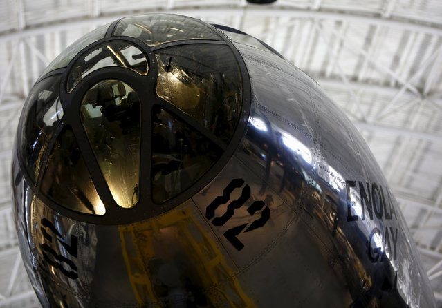 The nose section of the Enola Gay, a Boeing B-29 Superfortress bomber, is seen at the Udvar-Hazy Smithsonian National Air and Space Annex Museum in Chantilly, Virginia August 28, 2015. (Photo by Gary Cameron/Reuters)