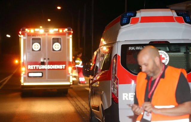 Emergency vehicles at a road block in Wuerzburg, Germany, 18 July 2016. (Photo by Karl-Josef Hildenbrand/EPA)