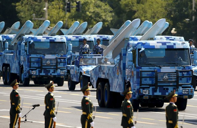 Marine corps vehicles carrying ship-to-air missiles drive past the Tiananmen Square during the military parade marking the 70th anniversary of the end of World War Two, in Beijing, China, September 3, 2015. (Photo by Damir Sagolj/Reuters)