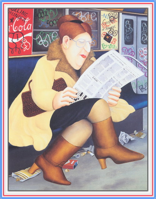 Reading the Newspaper. Artwork by Beryl Cook