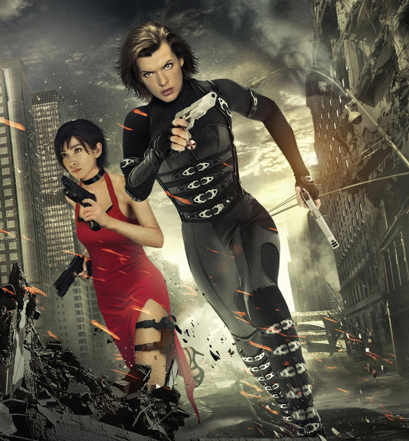 "Li Bingbing and Milla Jovovich in ""Resident Evil: Retribution"""