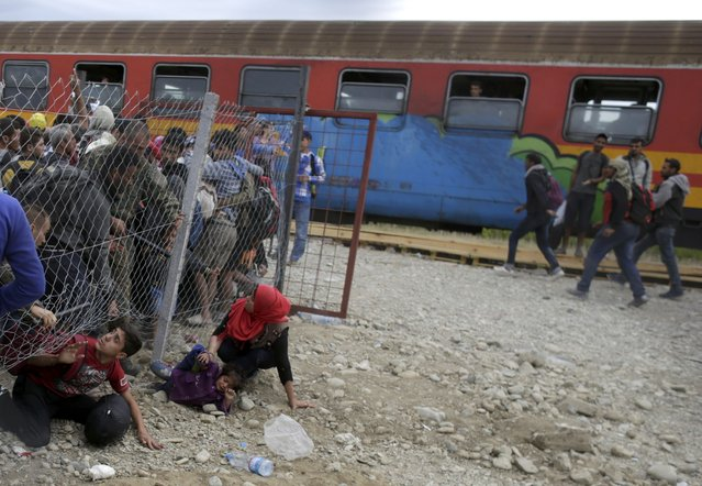Police try to stop migrants going under a fence to board a train at a station near Gevgelija, Macedonia, September 7, 2015. (Photo by Stoyan Nenov/Reuters)