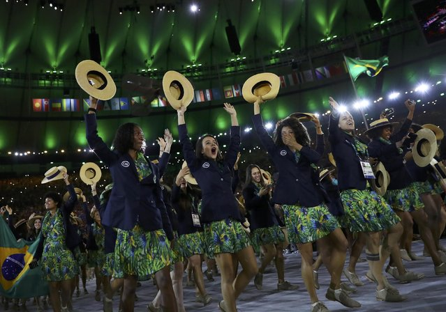 2016 Rio Olympics, Opening ceremony, Maracana, Rio de Janeiro, Brazil on August 5, 2016. Brazil arrives for the opening ceremony. (Photo by Kai Pfaffenbach/Reuters)