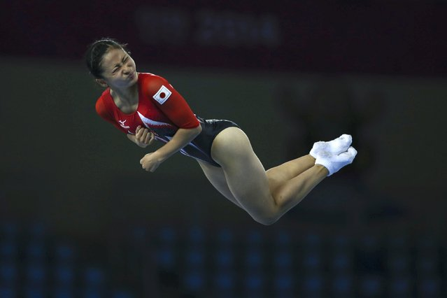 Japan's Ayano Kishi competes in the final of the women's trampoline event during the gymnastics competition at the Namdong Gymnasium Club during the 17th Asian Games in Incheon September 26, 2014. (Photo by Kim Hong-Ji/Reuters)